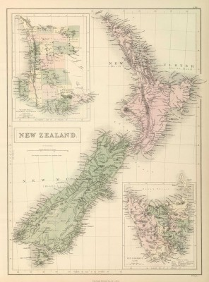 New Zealand map from 1854