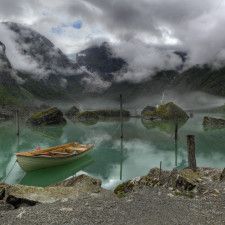 A view of the lake Bondhus in Norway. In the background a view of the Bondhus Glacier as a part of the Folgefonna Glacier. Money shot