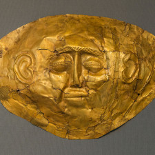 One of the funeral masks from Mycenae, gold, 16th-century BCE, Athens, Greece. - Gold Markets