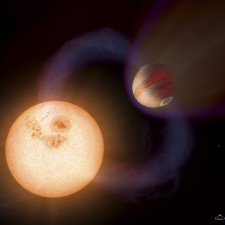 """This is an artist's impression of a unique type of extrasolar planet discovered with the Hubble Space Telescope. The planet is so close it to its star that it completes an orbit in 10.5 hours. The planet is only 750,000 miles (about 1.207 Million kilometres) from the star, or 1/130th the distance between Earth and the Sun. The Jupiter-sized planet orbits an unnamed red dwarf star that lies in the direction of the Galactic Centre; the exact stellar distance is unknown. Hubble detected the planet in a survey that identified 16 Jupiter-sized planets in short-period, edge-on orbits (as viewed from Earth) that pass in front of their parent stars. Hubble could not see the planets, but measured the dimming of starlight as the planets passed in front of their stars. This illustration presents a purely speculative view of what such a """"hot Jupiter"""" might look like. It could have a powerful magnetic field that traps charged particles from the star. These particles create glowing auroral rings around the planet's magnetic poles. A powerful magnetic flux tube links the planet and star. This enhances stellar activity and triggers powerful flares. A powerful stellar wind creates a bow shock around the planet. Forecasting the planet's atmosphere seethes at 1,650 degrees Celsius."""