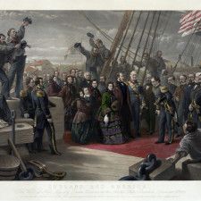 England and America. The visit of her majesty Queen Victoria to the Arctic ship Resolute - December 16th, 1856, to whom this engraving is by special permission respectfully dedicated by her obedient servants, P. & D. Colnaghi & Co., an engraving by George Zobel after the artwork of William Simpson, showing the visit of en:Queen Victoria to the HMS Resolute, an Arctic ship that, having been lost to the ice, had recently been recovered by the Americans, and returned by them to the British - Retirement savers
